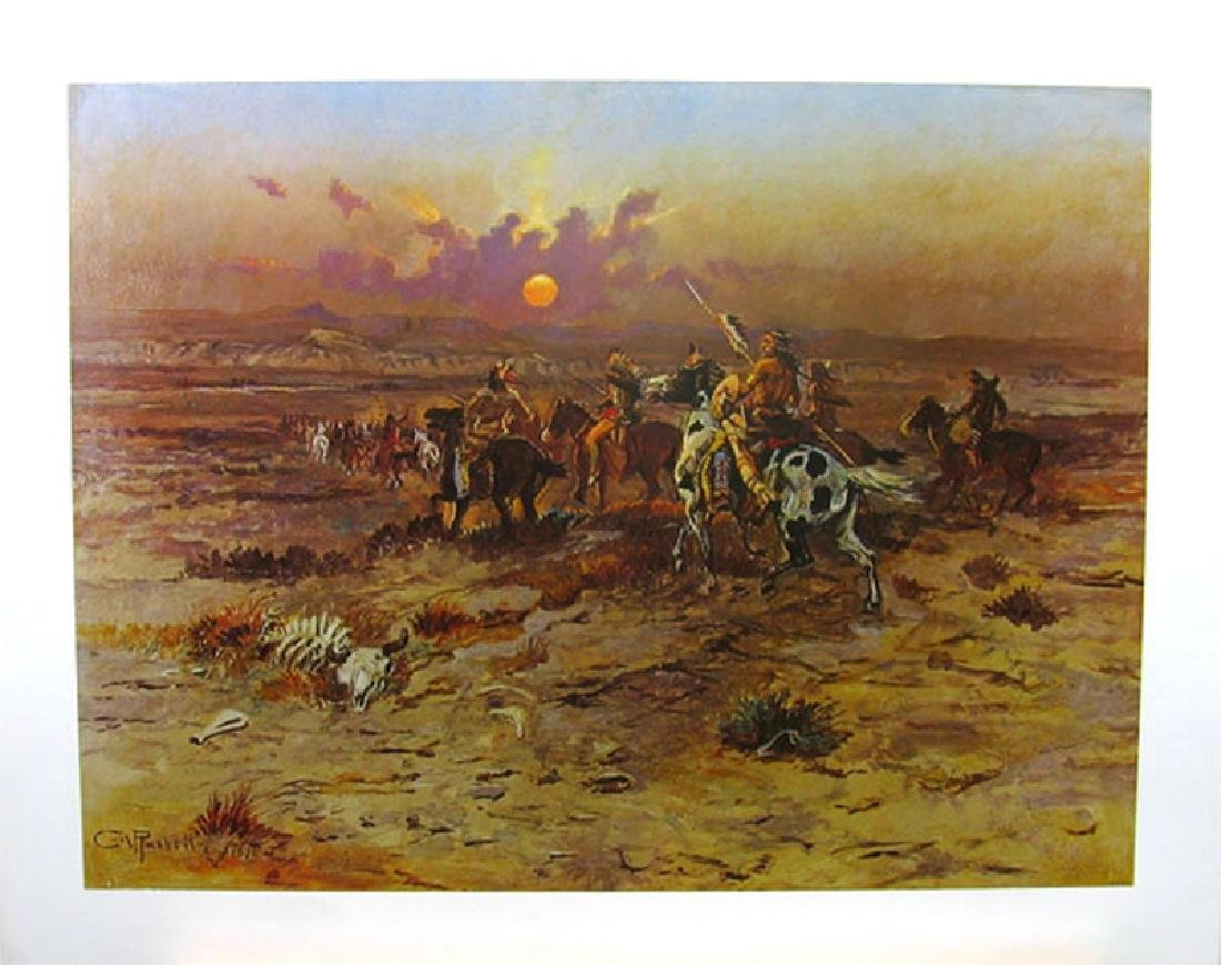 CHARLES M. RUSSELL (After) Stolen Horses Print, 28'' x