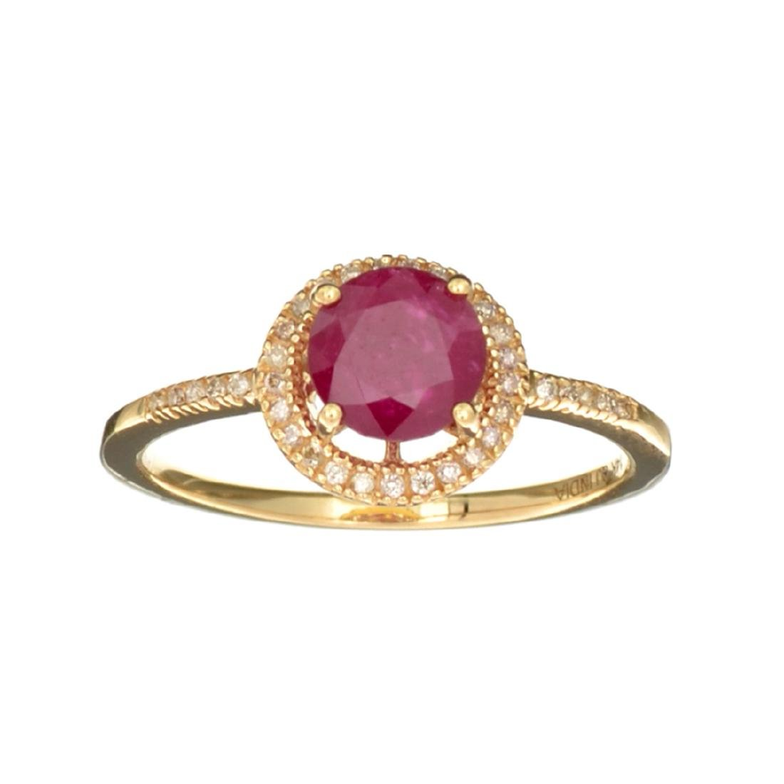 Designer Sebastian 14KT Gold, 1.25CT Round Cut Ruby and