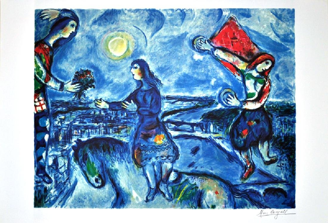 MARC CHAGALL (After) Lovers Over Paris Print, 216 of