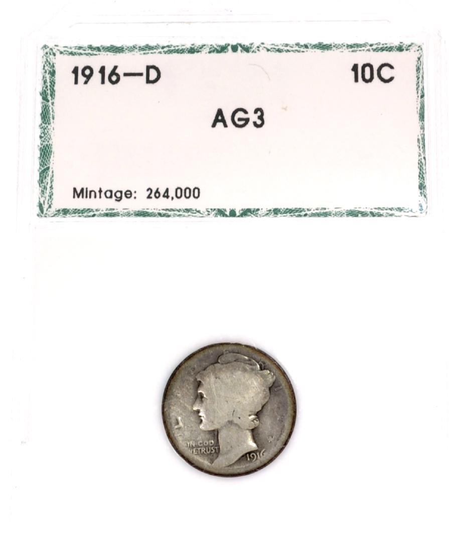 1916-D Mercury Dime Key Date AG3 Coin