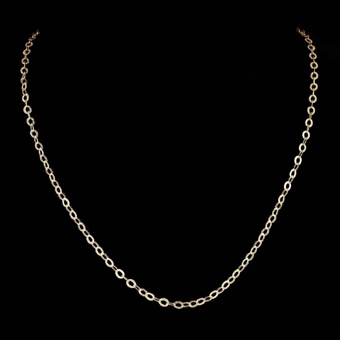 *Fine Jewelry 14KT Gold, 3.1GR, 16'' Corrugated Oval