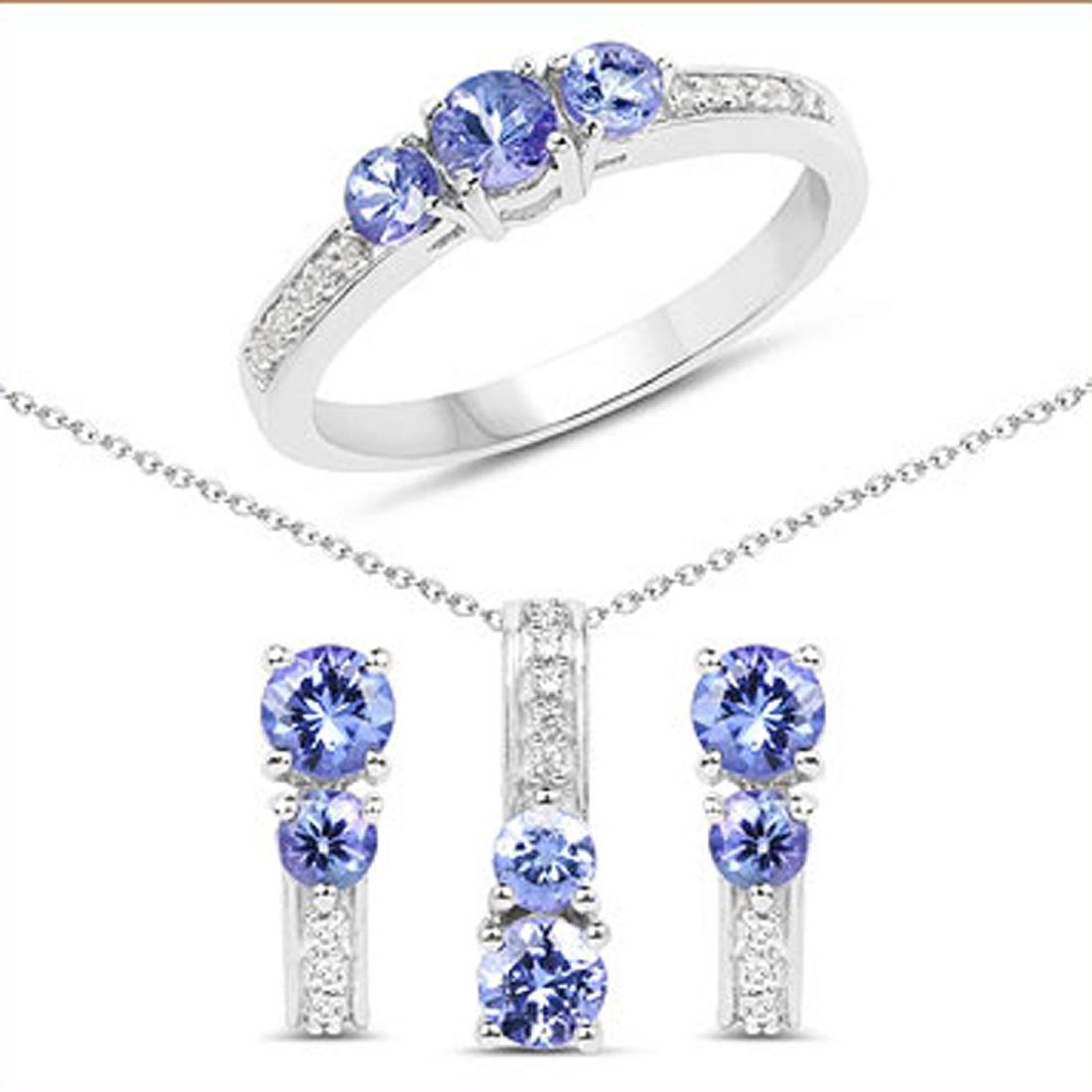 1.54CT Round Cut Tanzanite And White Topaz Sterling