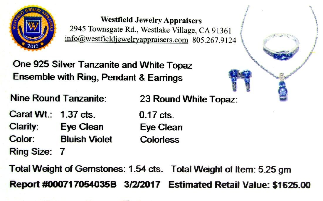 1.54CT Round Cut Tanzanite And White Topaz Sterling - 2