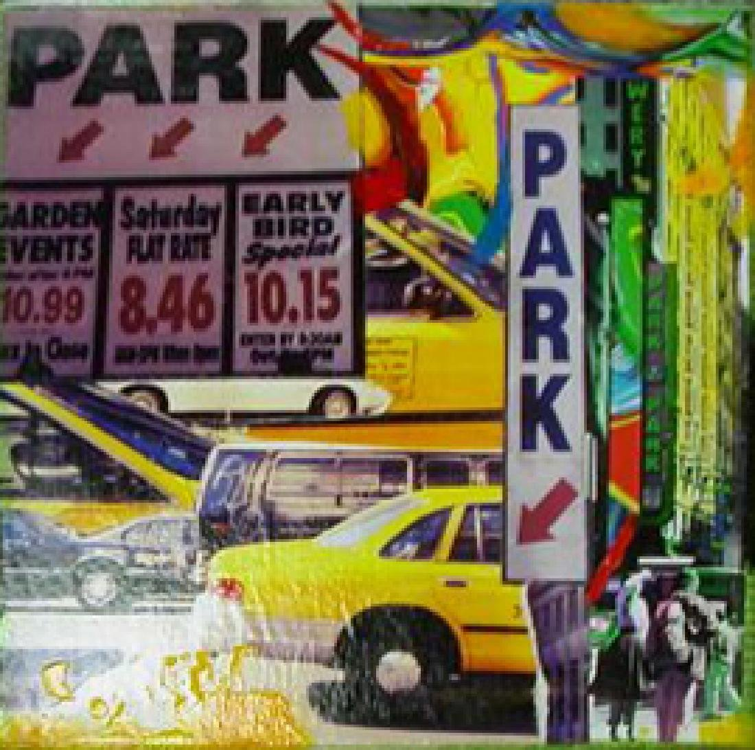 Parking in NYC by Joe Borg - 8 x 8 Collage on Canvas