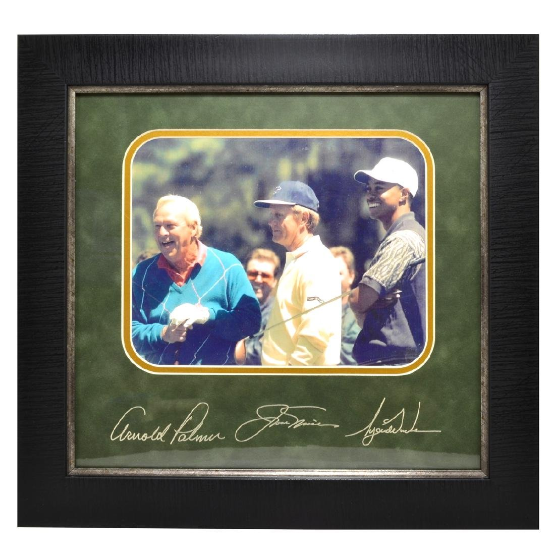 Rare Plate Signed Tiger Woods,Arnold  Palmar, And Jack