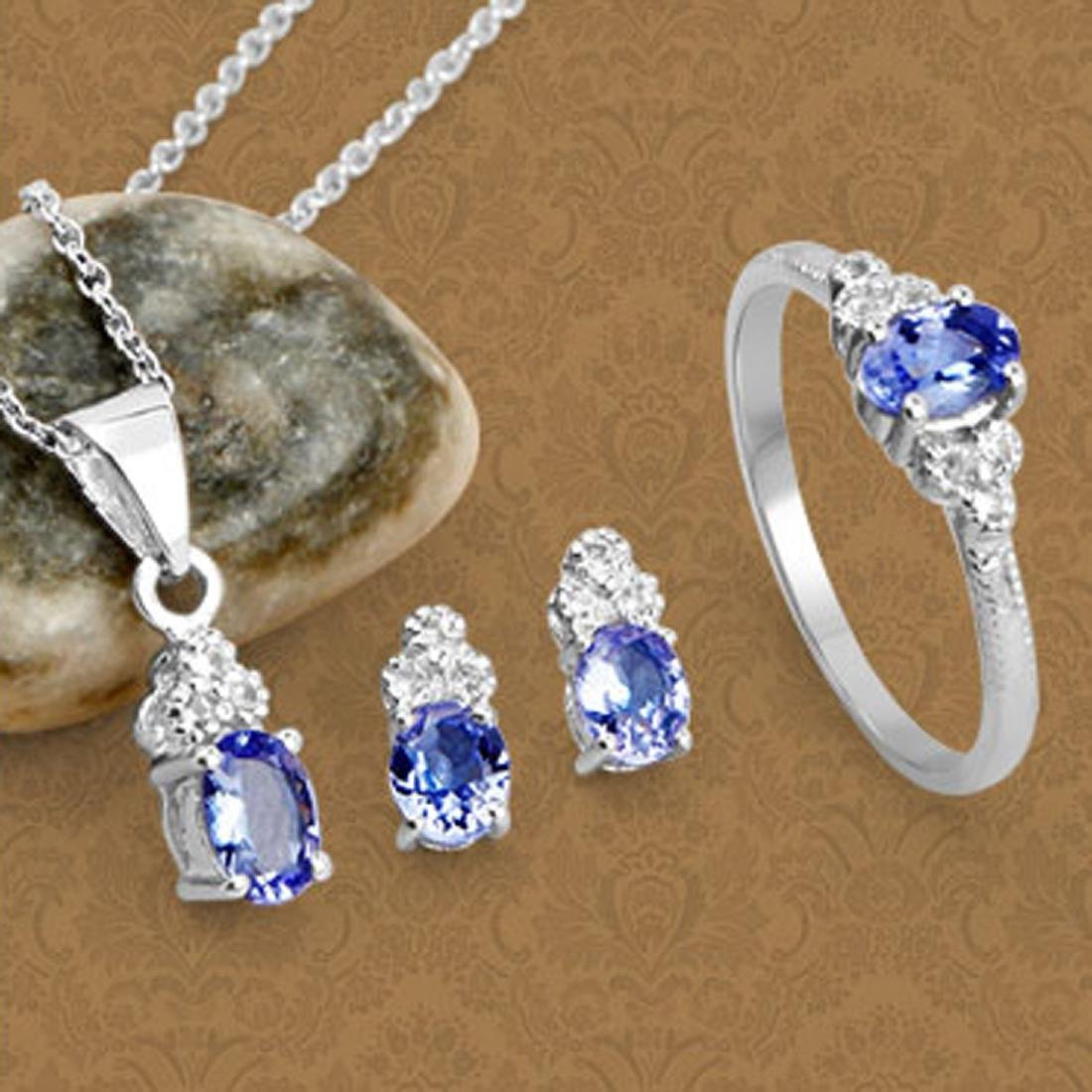 Fine Jewelry 1.66CT Tanzanite And White Topaz Sterling