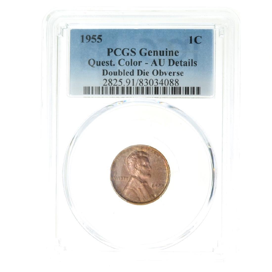 *1955 Lincoln Cent PCGS Genuine Quest AU Details Coin