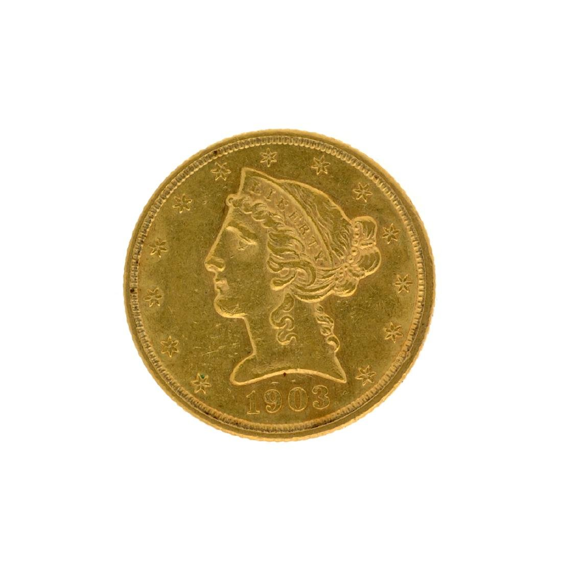 *1903 $5 Liberty Head Gold Coin (DF)