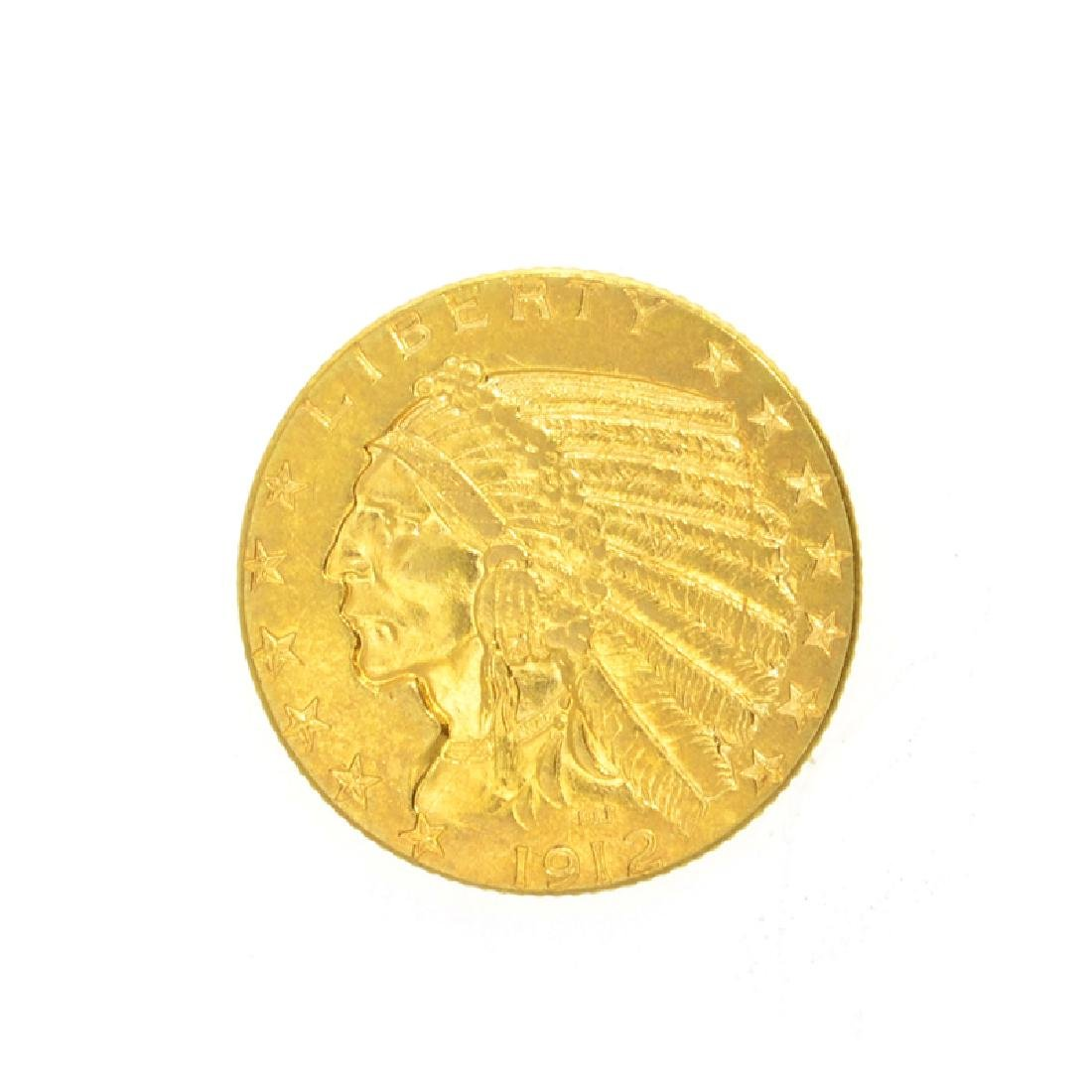 *1912 $5 U.S. Indian Head Gold Coin (DF)