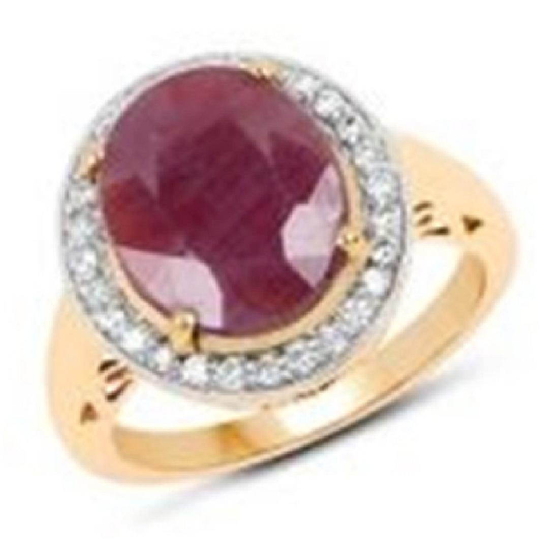 APP: 3k 14 KT Yellow Gold, 6.25CT Oval Cut Ruby &