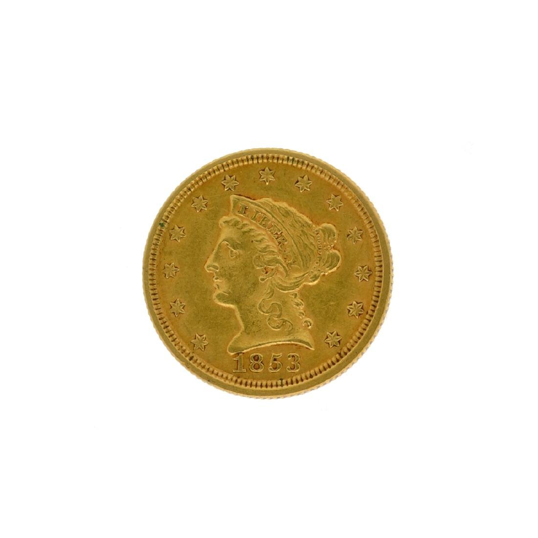 *1853 $2.5 Liberty Head Gold Coin (DF)