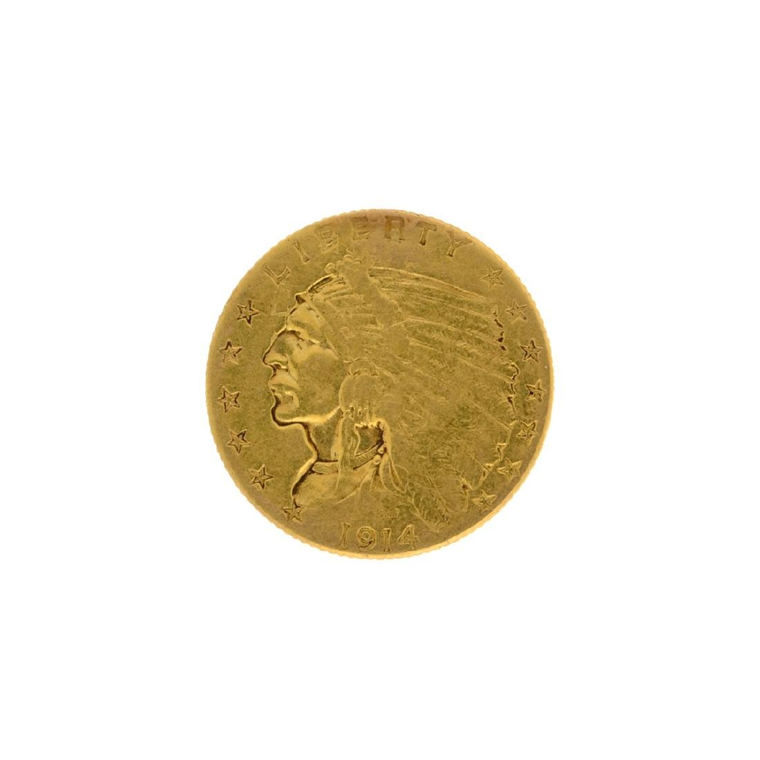*1914 $2.5 Indian Head Gold Coin (DF)