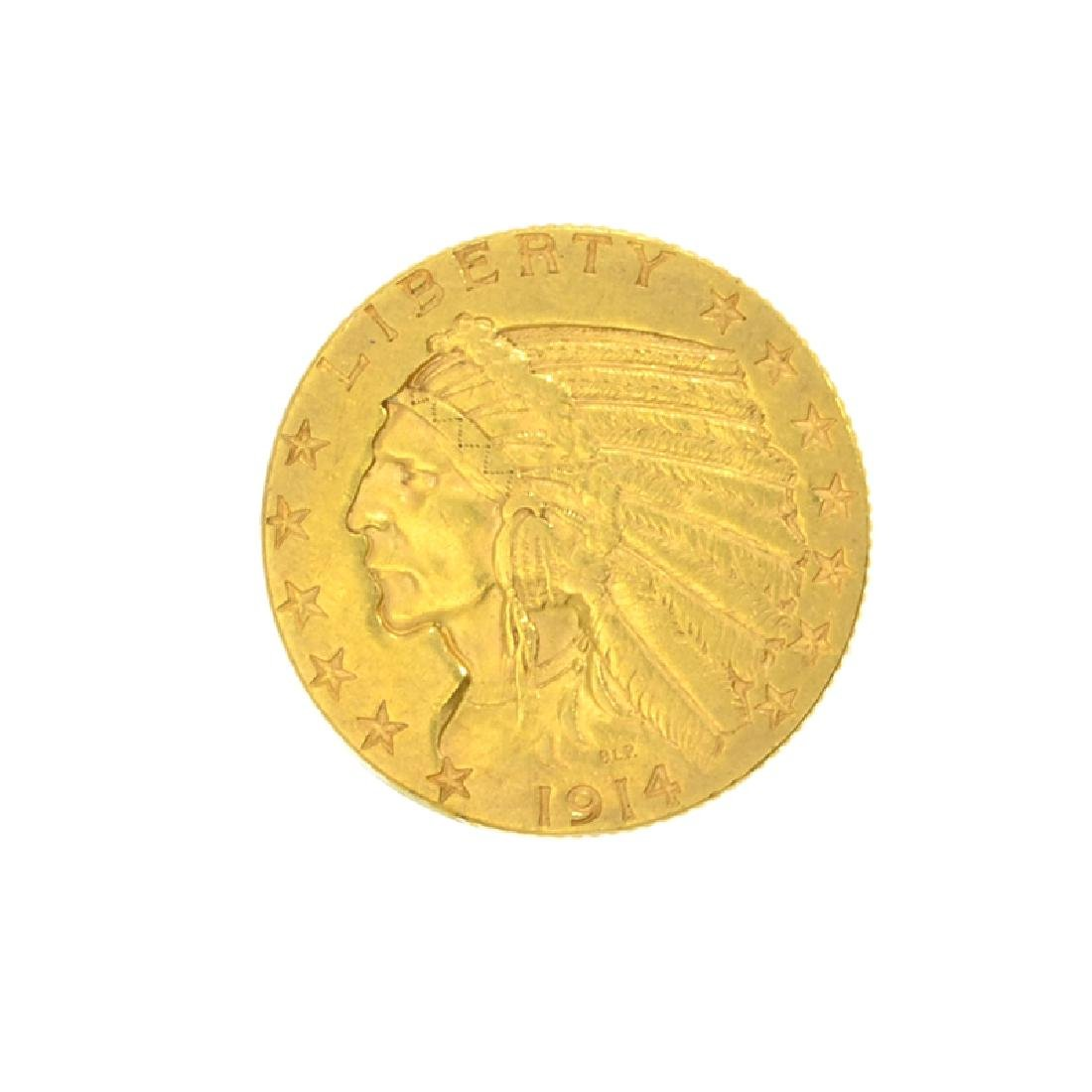 *1914-D $5 U.S. Indian Head Gold Coin (DF)