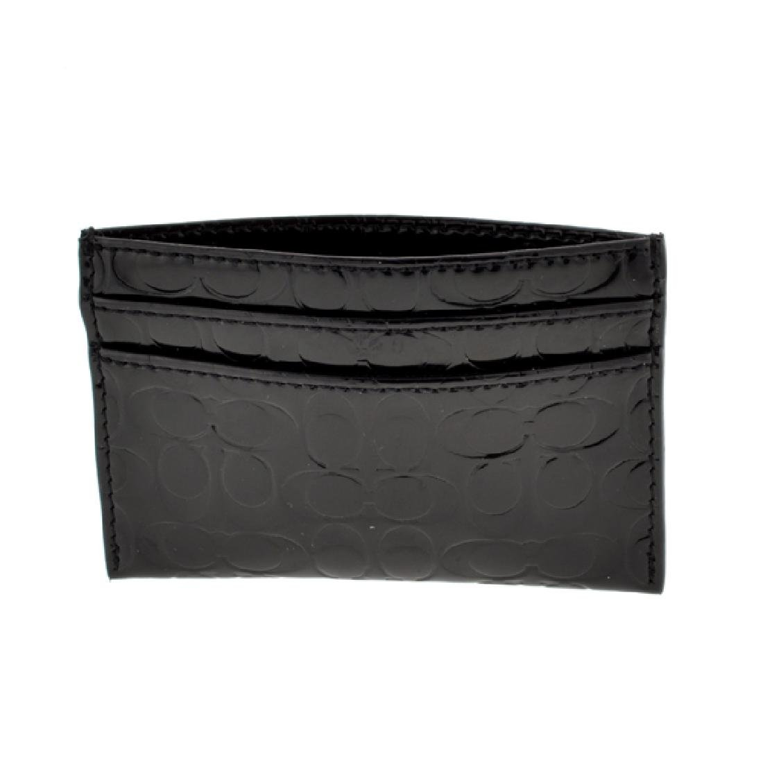 Brand New Coach Embossed Black Liquid Gloss Card Case
