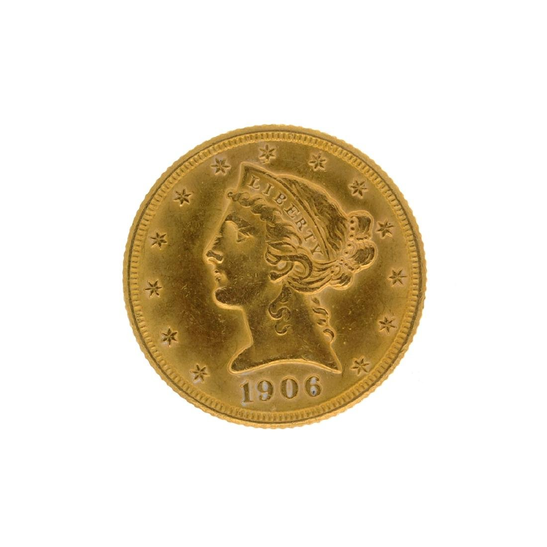 *1906-D $5 Liberty Head Gold Coin (DF)
