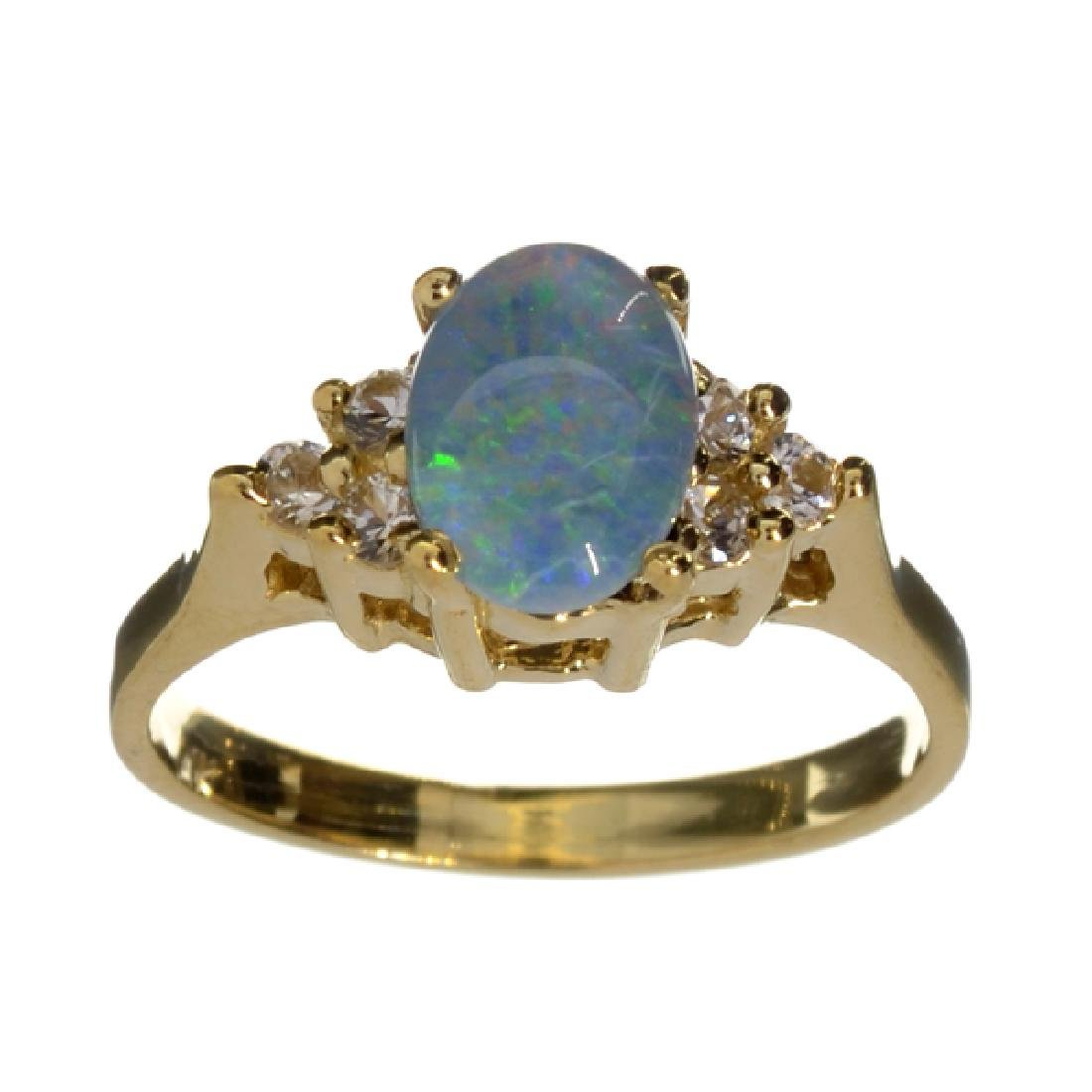 APP: 1k 14 kt. Gold, 0.76CT Opal Triplet And Sapphire