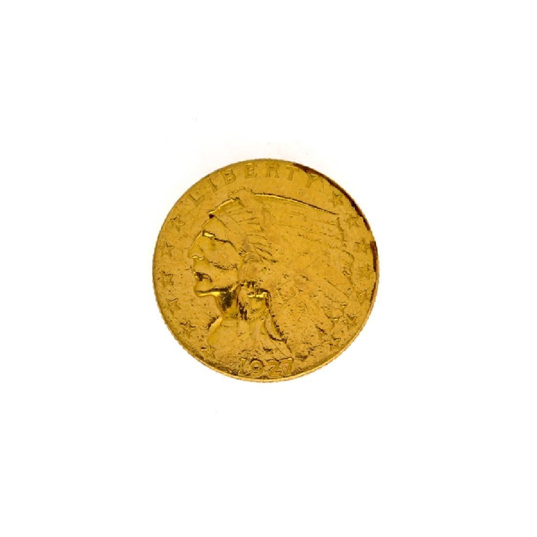 *1927 $2.50 U.S. Indian Head Gold Coin (DF)
