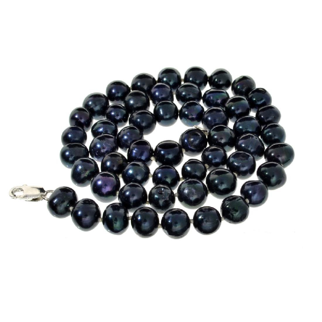 APP: 1.3k 18'' Black Pearl Strand with Sterling Silver