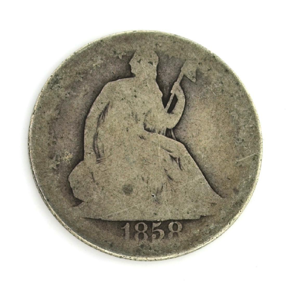 1858 Liberty Seated Half Dollar Coin