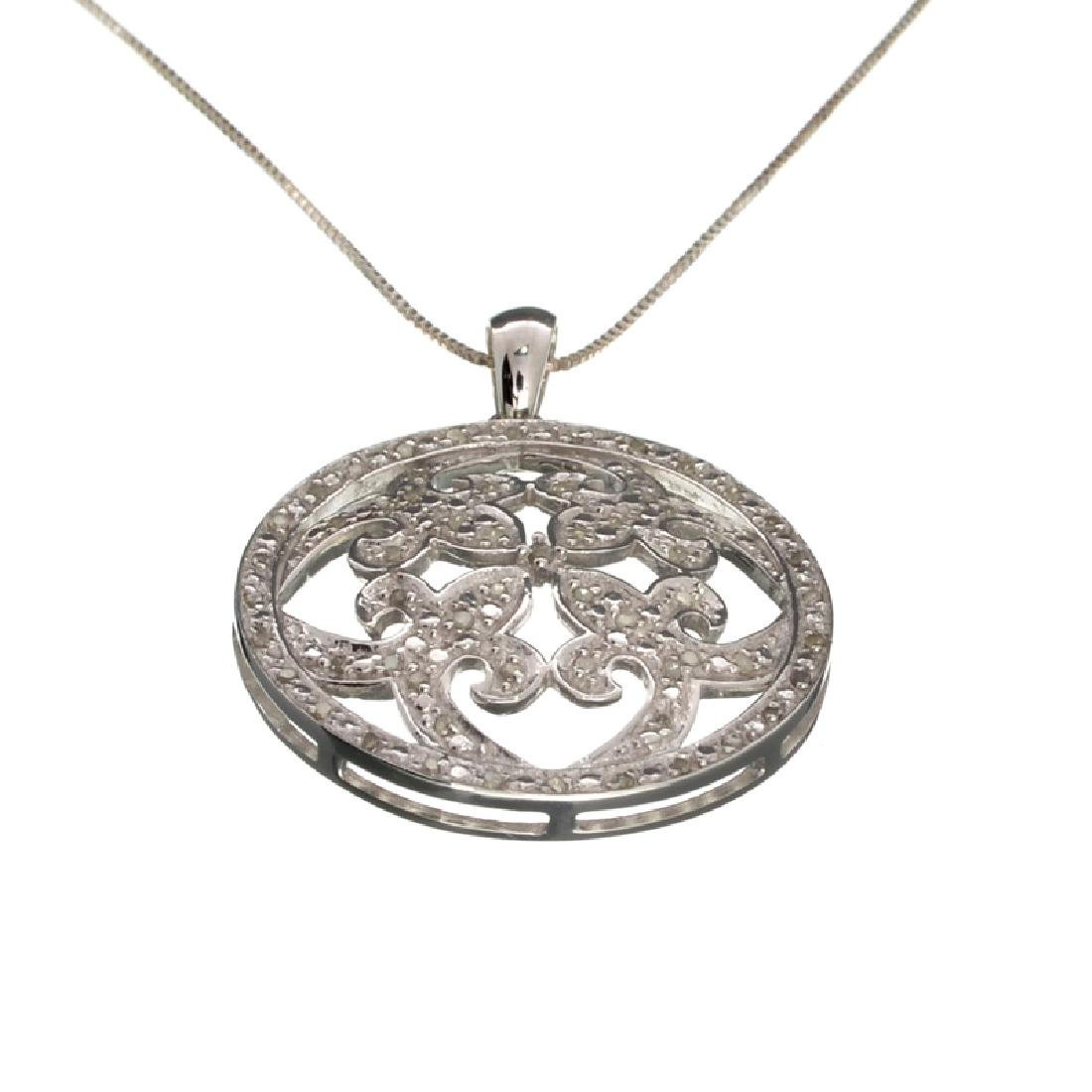 0.31CT Diamond and Sterling Silver Pendant with 18''