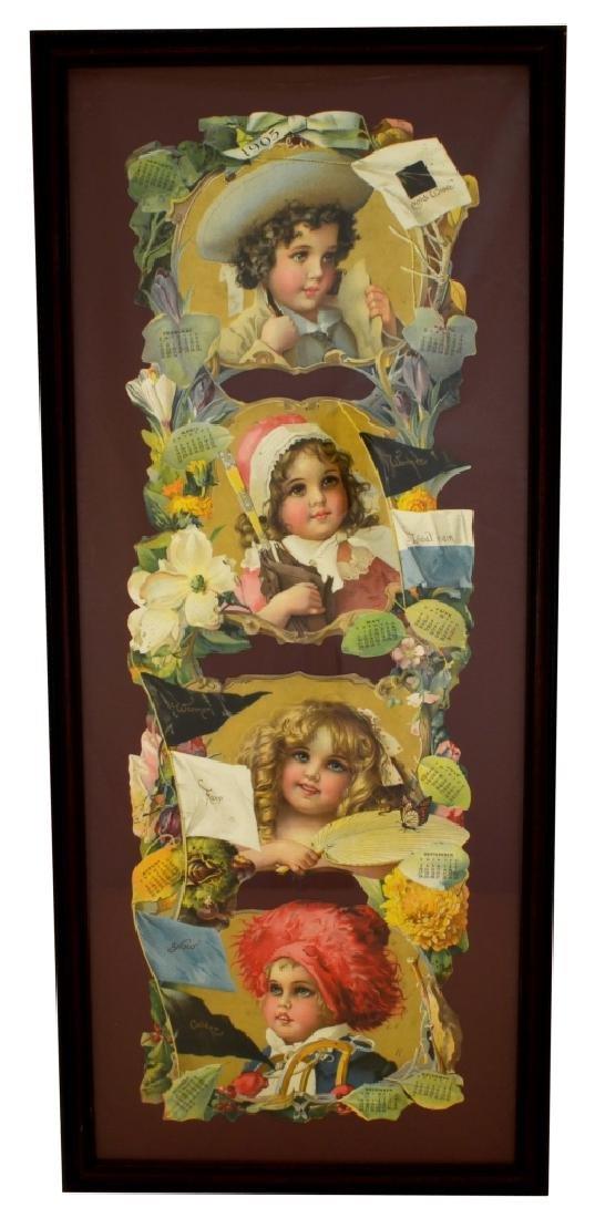 Antique Die-Cut Cardboard Calendar -P-