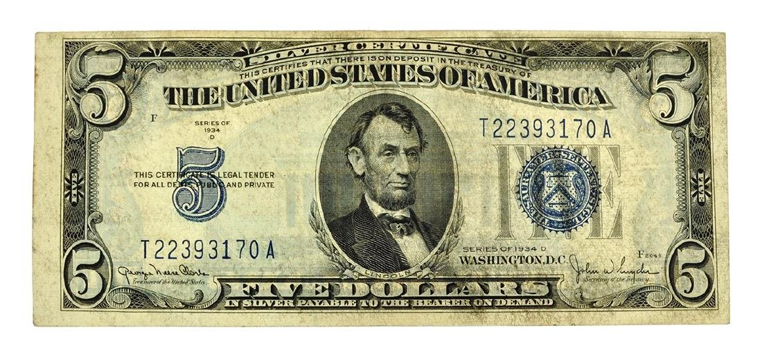 Nice 1934-D $5 Blue Seal Silver Certificate Note