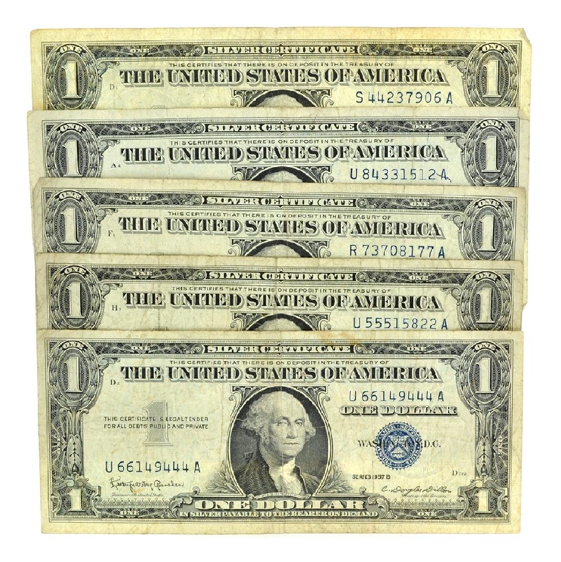 (5) 1957 $1 U.S. Silver Certificates