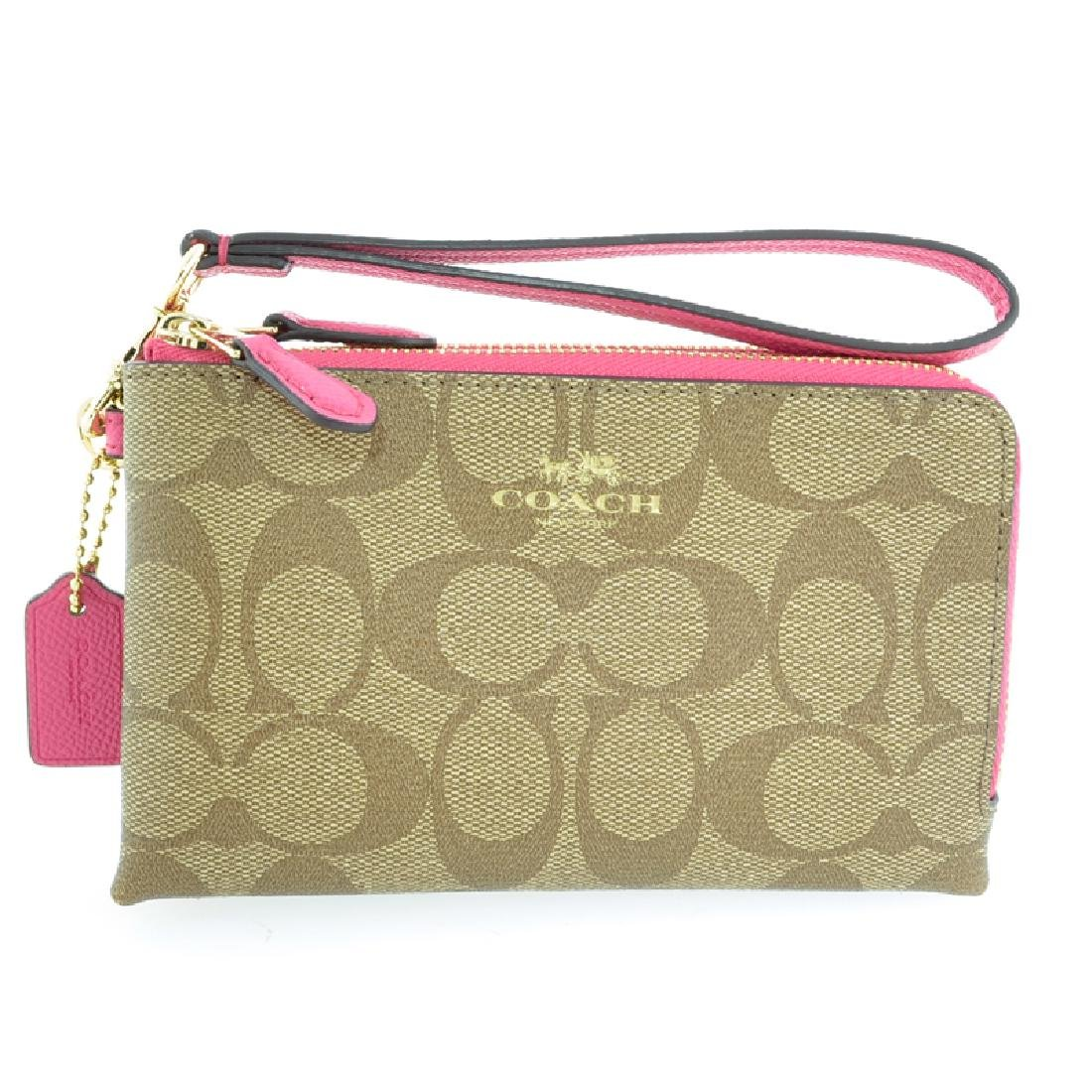 Brand New Authentic Coach Khaki/Dahlia Signature Double