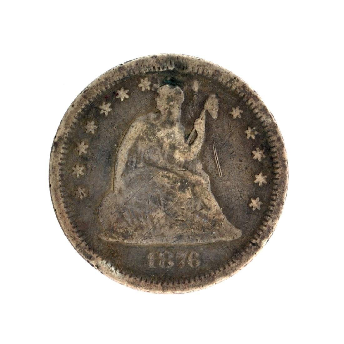 1876 Liberty Seated Quarter Dollar Coin
