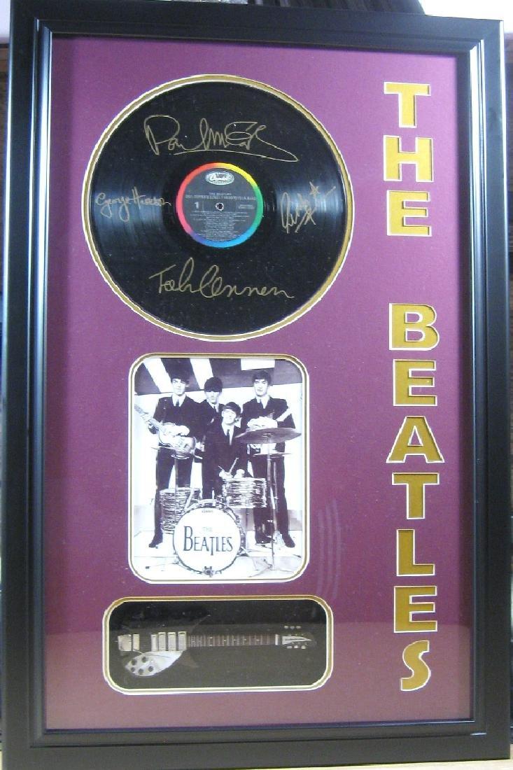 Beatles Engraved Vinyl & Guitar - Plate Signatures