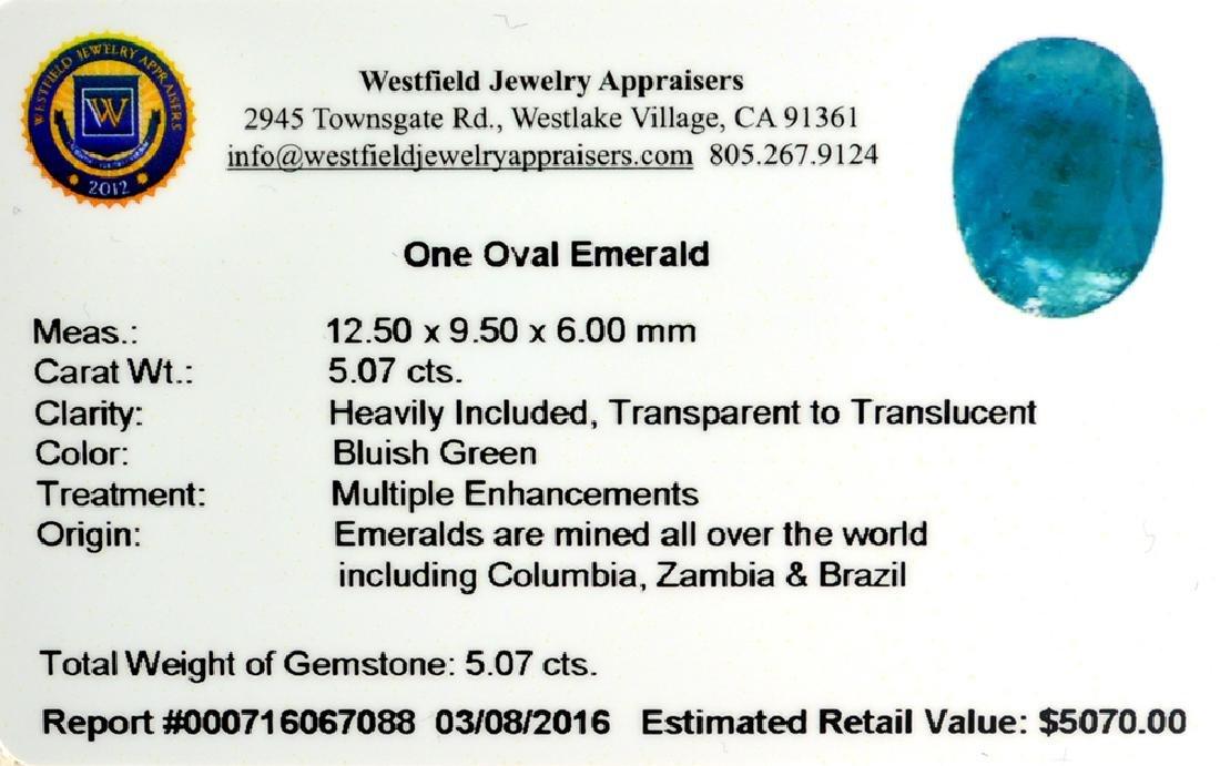 APP: 5.1k 5.07CT Oval Cut Green Emerald Gemstone - 2