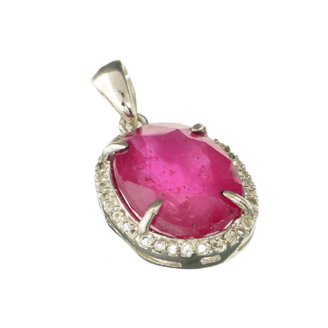 APP: 3k Fine Jewelry 9.76CT Ruby And Topaz Platinum