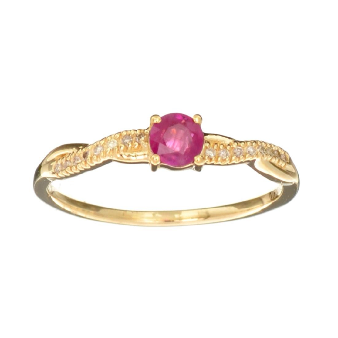 Designer Sebastian 14KT Gold 0.43CT Round Cut Ruby and