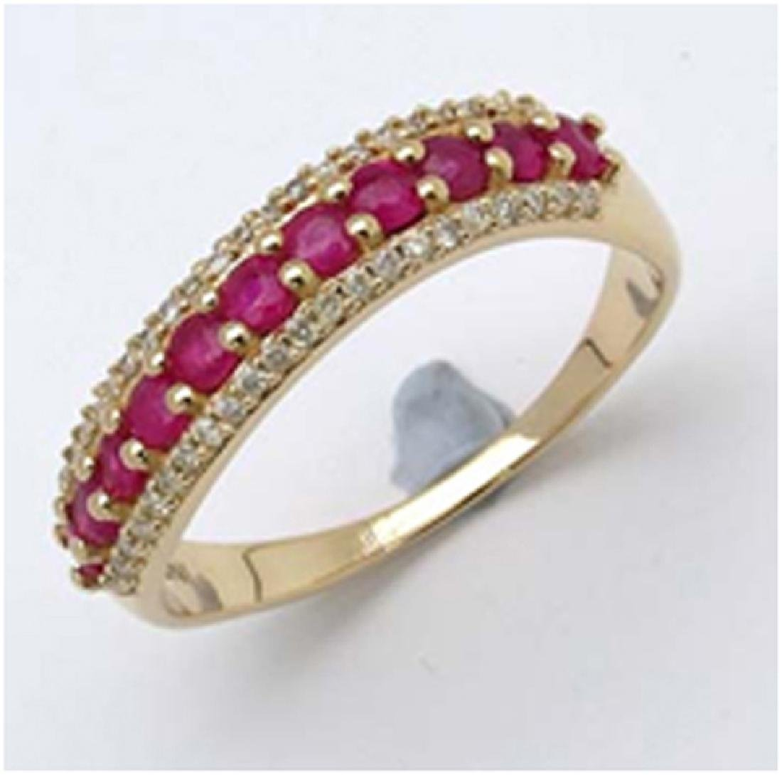 *Fine Jewelry 14K Gold, 2.73CT Ruby Round And White