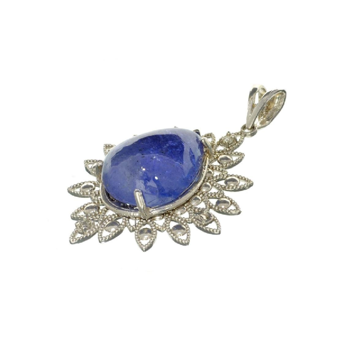 14 kt White Gold, 20.30CT Tanzanite and Diamond Pendant