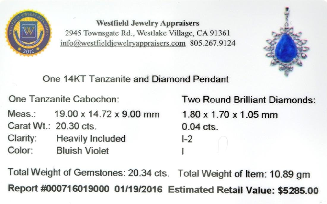 14 kt White Gold, 20.30CT Tanzanite and Diamond Pendant - 2