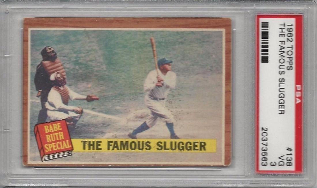 Rare Babe Ruth The Famous Slugger 1962 Topps PSA VG 3