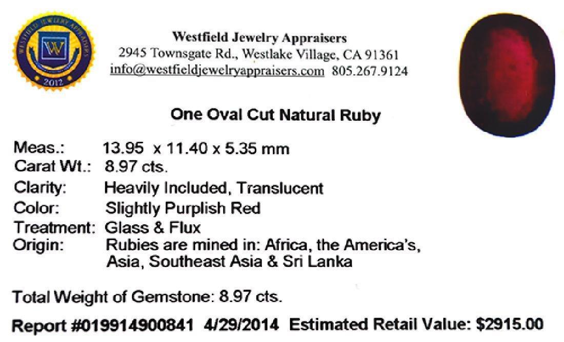 APP: 2.9k 8.97CT Oval Cut Ruby Gemstone - 3