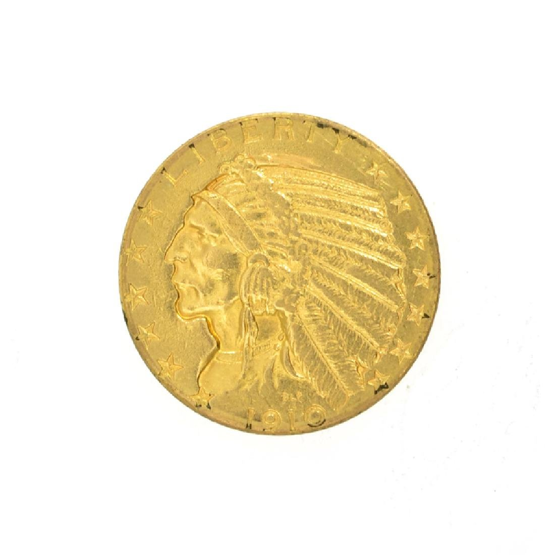 *1910-D $5 U.S. Indian Head Gold Coin (DF)