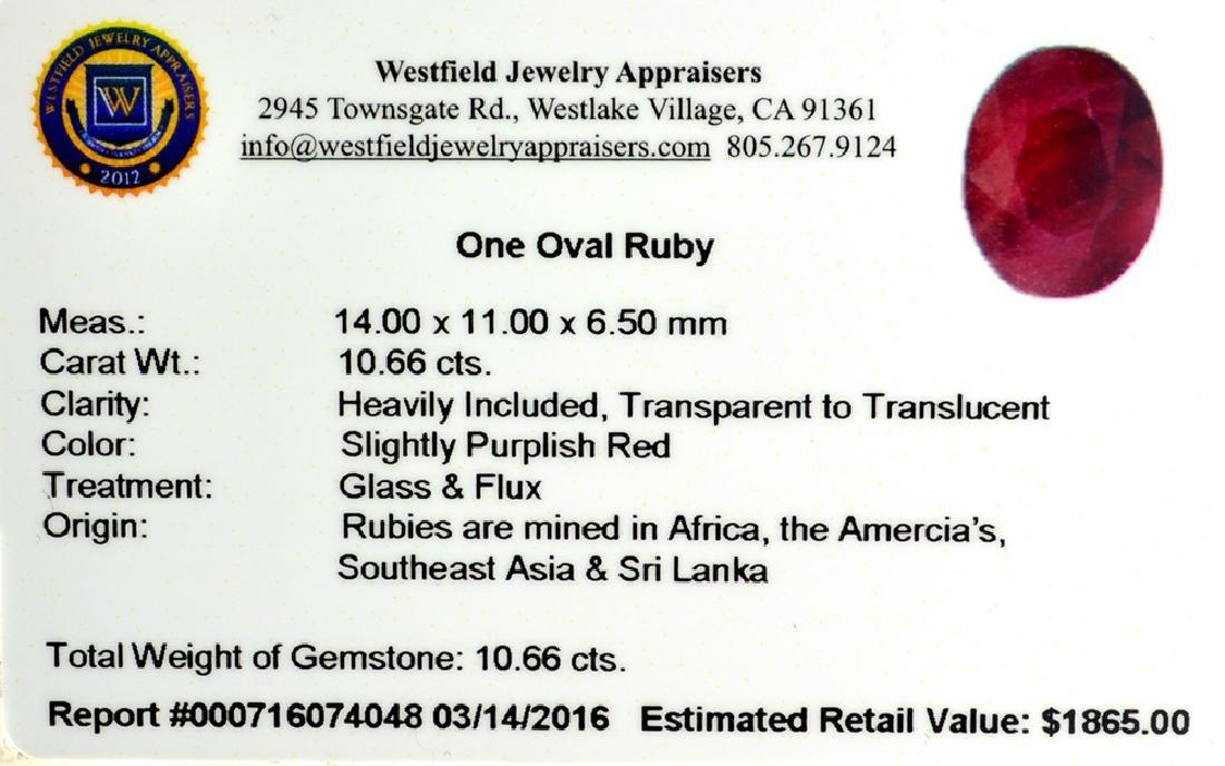 APP: 1.9k 10.66CT Oval Cut Ruby Gemstone - 2