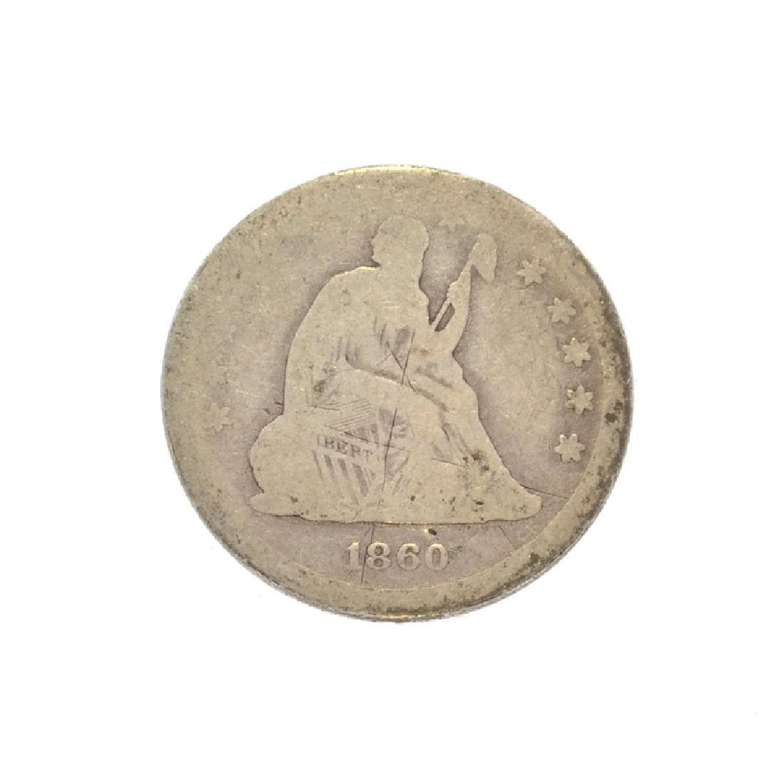 1860 Liberty Seated Quarter Dollar Coin
