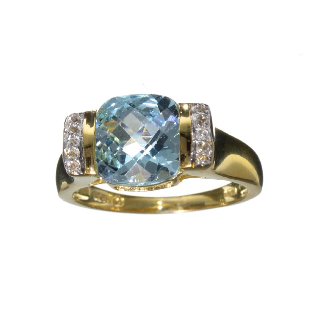 Fine Jewelry 4.15CT Blue Topaz And White Sapphire W a