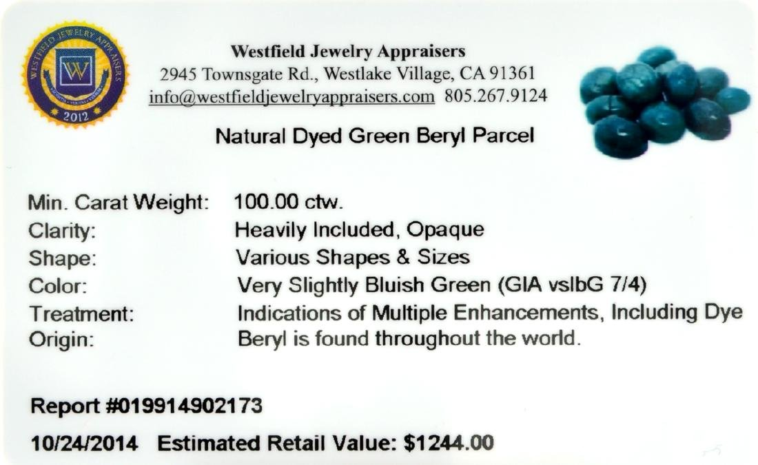 APP: 1.2k 100.00CT Various Shapes And Sizes Green Beryl - 2