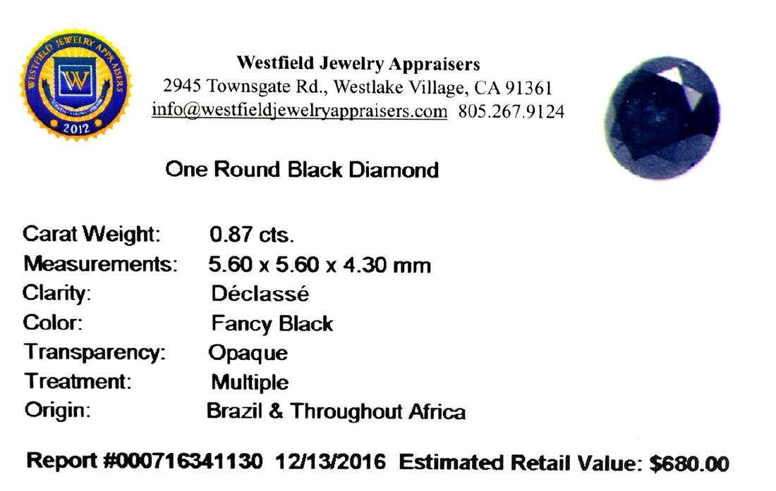 APP: 0.7k 0.87CT Round Cut Black Diamond Gemstone - 2