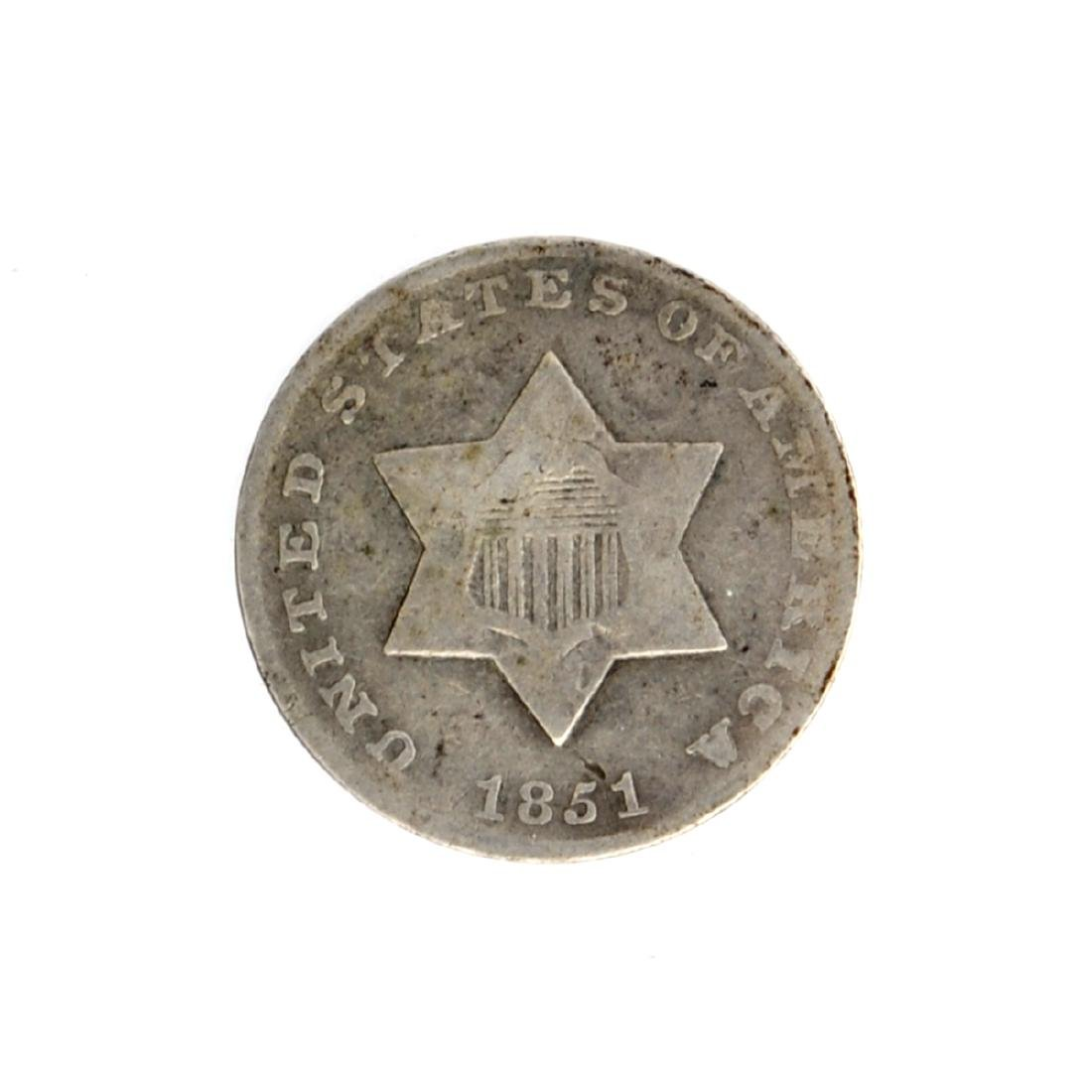 1851 Silver Three-Cent Coin