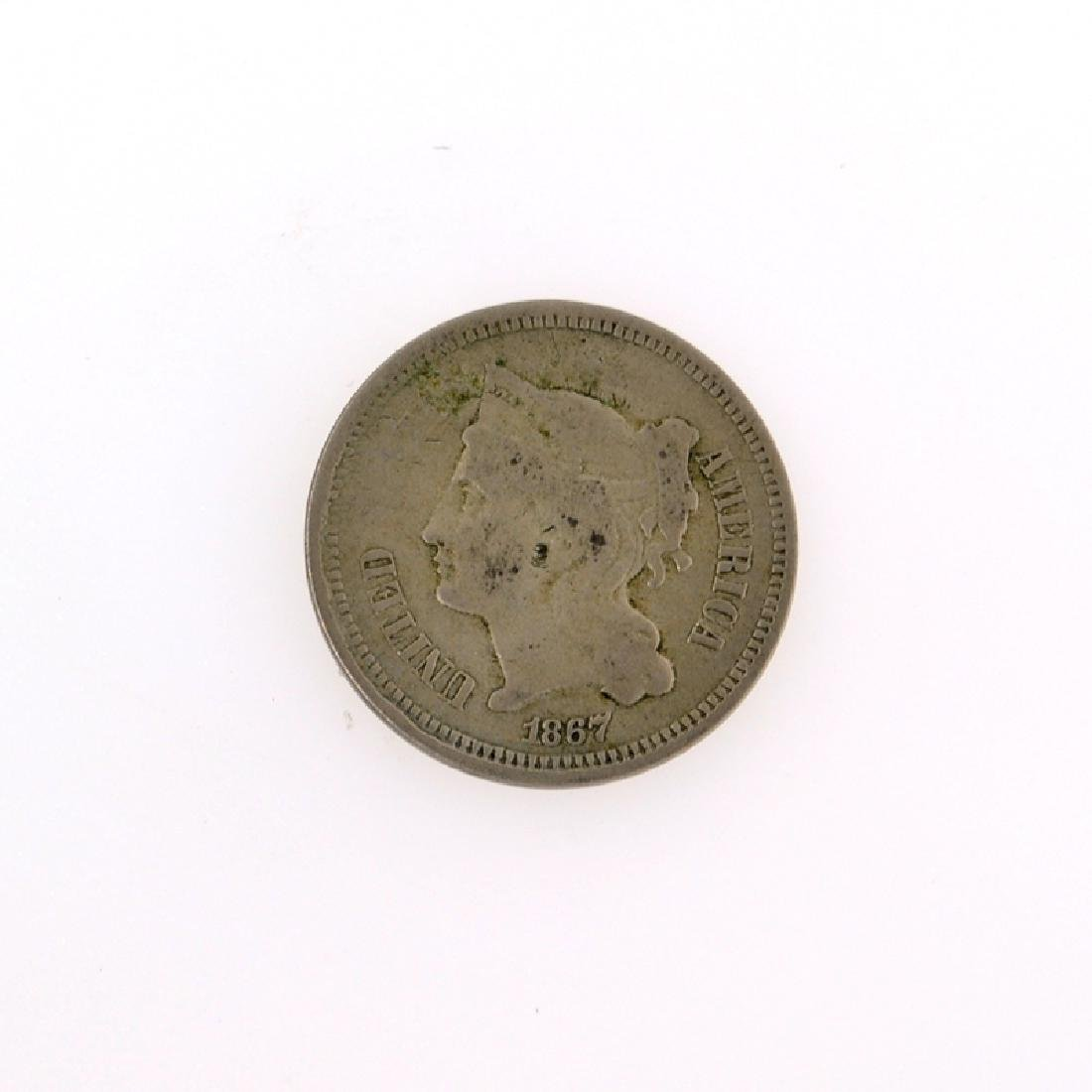 1867 Three Cent Piece Nickel Coin