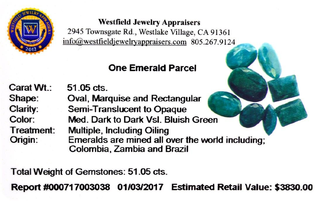 APP: 3.8k 51.05CT Green Emerald Parcel - 2