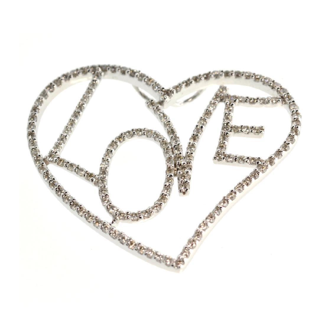 APP: 6k *18 kt. White Gold, 1.15CT Diamonds Pendant