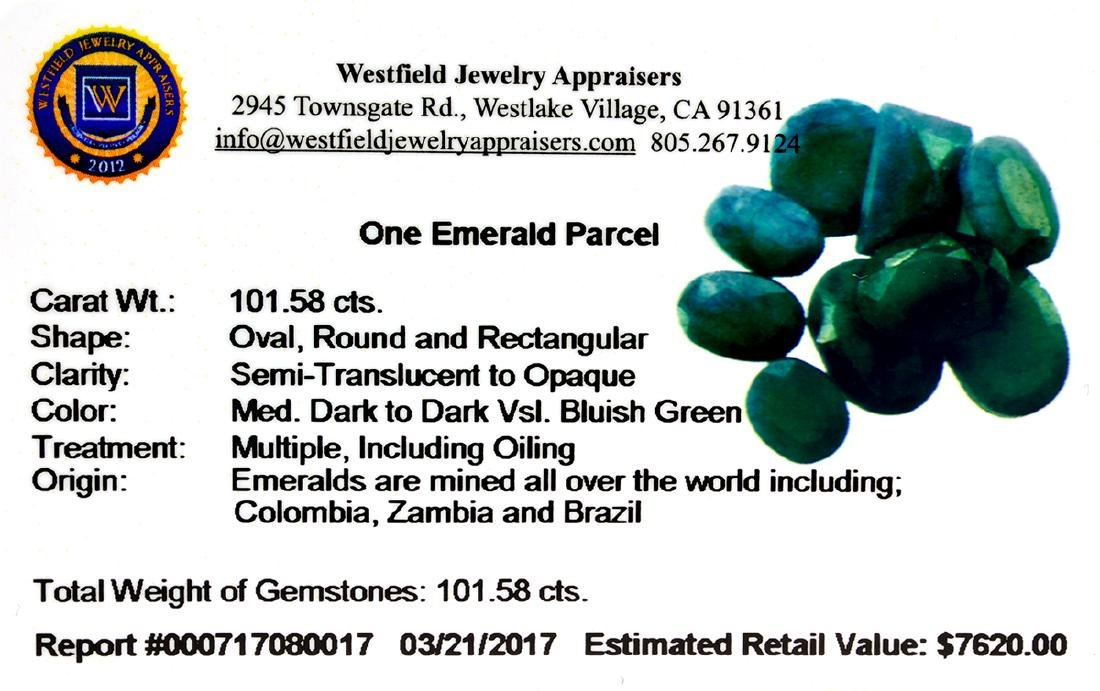 APP: 7.6k 101.58CT Various Shapes Green Emeral Parcel - - 2