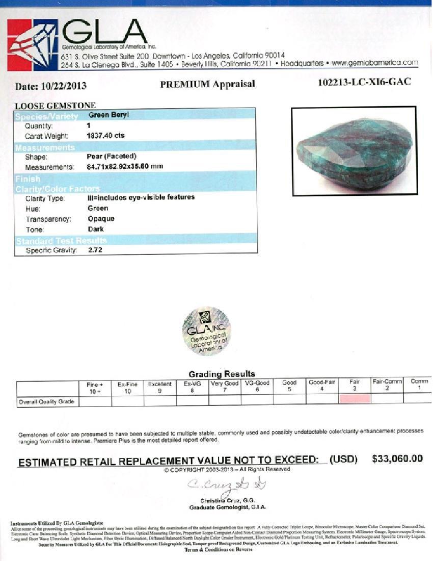 APP: 33.1k 1837.40CT Pear Cut Green Beryl Gemstone - 3